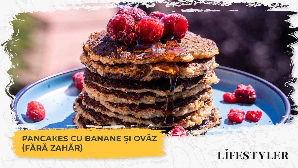 Pancakes cu banane și ovăz (fără zahăr)